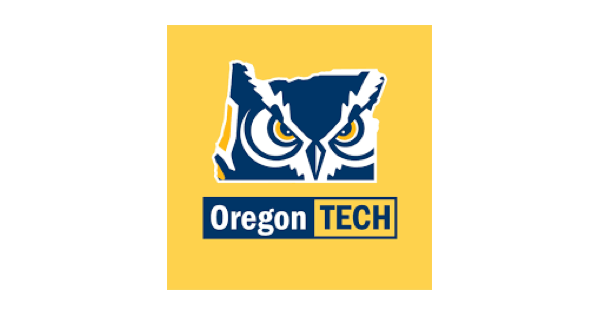 Square Oregon Institute of Technology logo in mustard yellow with a purple, yellow and white owl head above the words Oregon Tech in yellow, purple and white