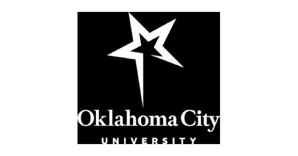 Square Oklahoma City University logo in black and white with a black and white star on a black background and the name of the university in white below it