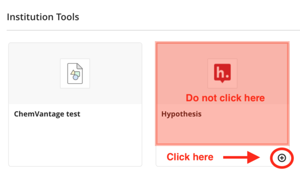 Location of plus icon in the Hypothesis tool pane