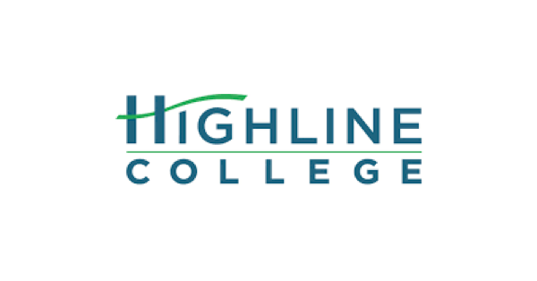Highline college logo with name of school in blue and green