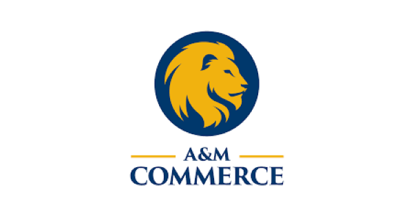 Texas A&M University-Commerce logo with a gold lion in profile in a navy blue circle and below that the words A&M Commerce stacked below it