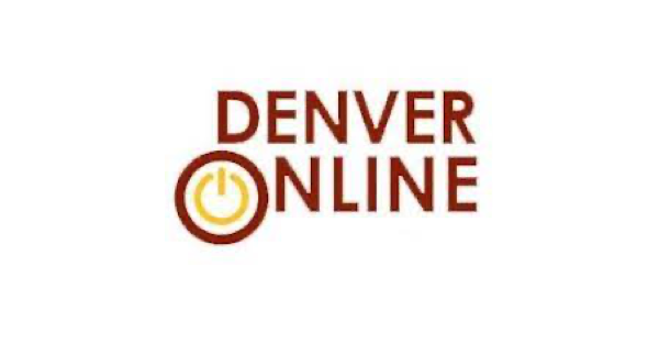 Denver Online High School logo with name of school in maroon uppercase letters with a yellow electronic-looking on-off switch inside the O in Online
