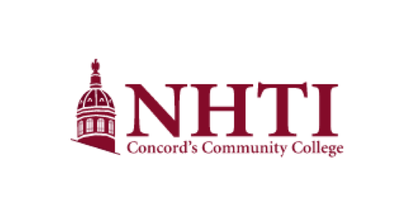 NHTI Concord's Community College logo with maroon letters spelling out the name of the school and a maroon illustration of a domed campus building