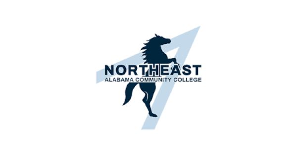 Northeast Alabama Community College logo with a pale blue single star point and in front of that a horse rearing up and in front of that the name of the school in uppercase letters