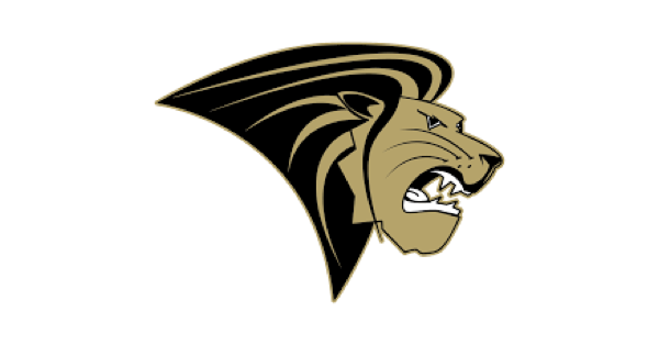 Lindenwood University logo with a copper and black lion in profile with snarling teeth