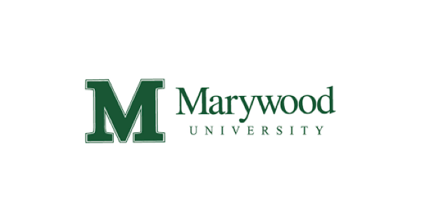 Marywood University logo with a big, green M and after that the name of the school in green on a white background