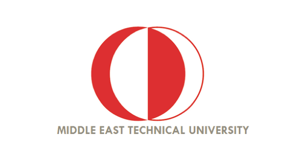 Middle East Technical University logo with an alternating red and white globe-like illustration and below that the name of the school in gray uppercase letters