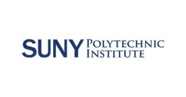 State University of New York (SUNY) Polytechnic Institute logo on white background with name of school in blue uppercase letters