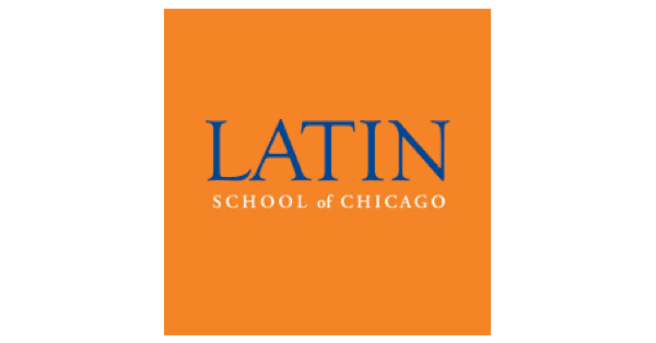 Latin School of Chicago logo on orange background with name of school in blue and white