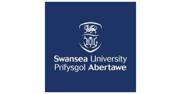 Swansea University logo in blue and white with a blue background upon which is a crest in white with a dragon and a book with crossed anchors behind it, and below that is the name of the school in English and in Welsh.