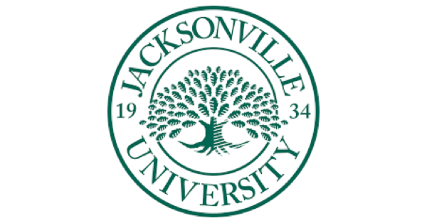 Jacksonville University logo in the form of a green seal on a white background, with a tree in the center of the seal, and the words Jacksonville University 1934 circling the tree on the outer ring of the seal